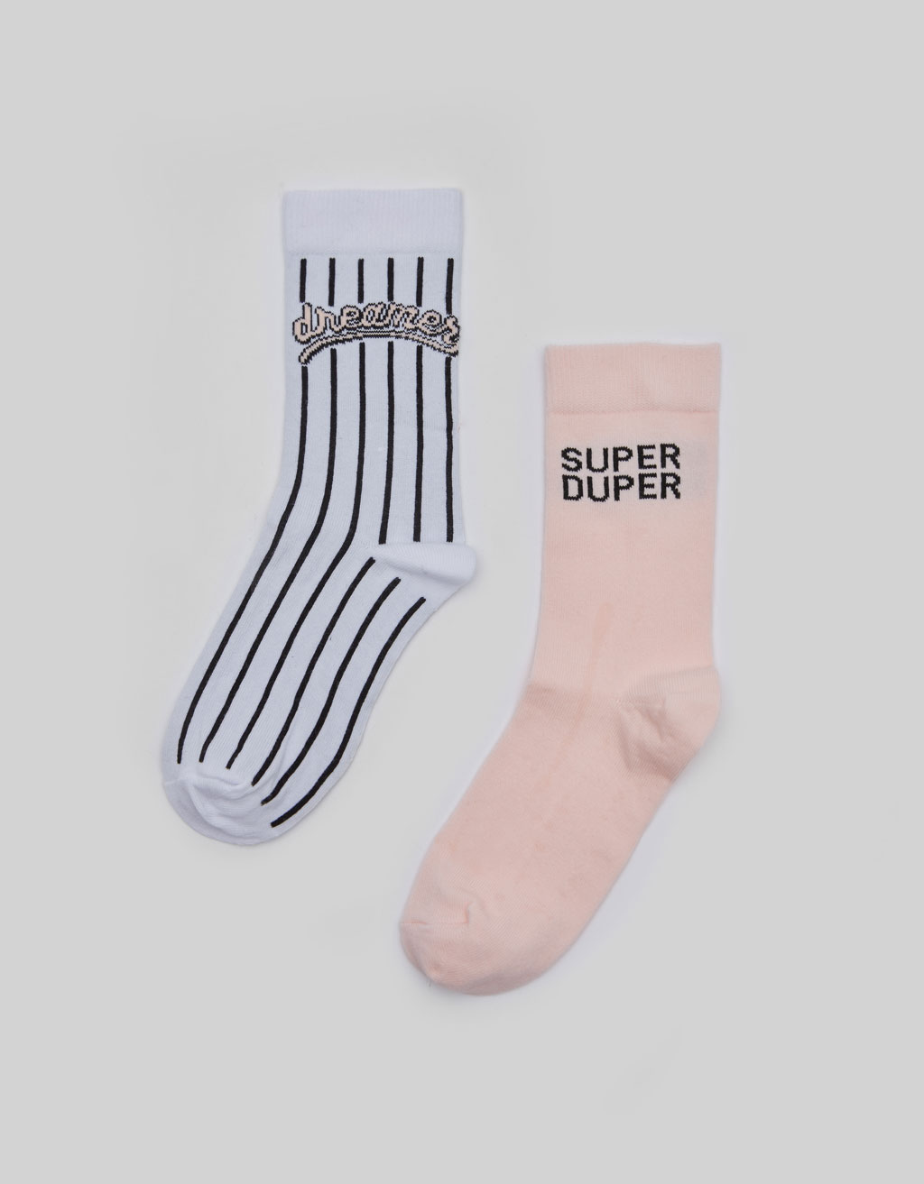 Socks with baseball stripes