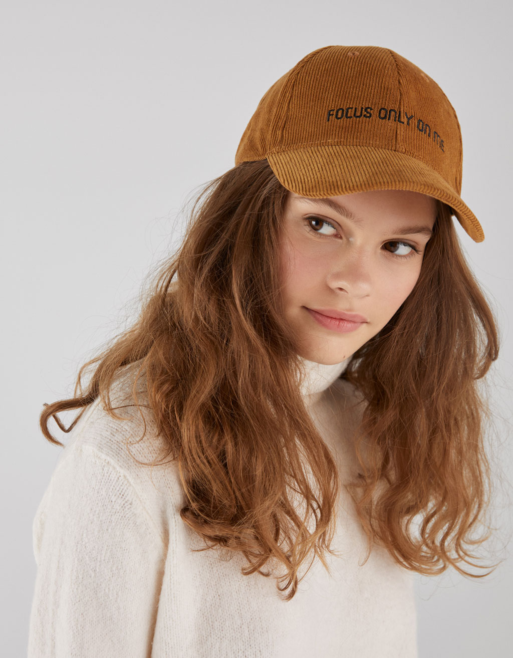 Embroidered corduroy cap