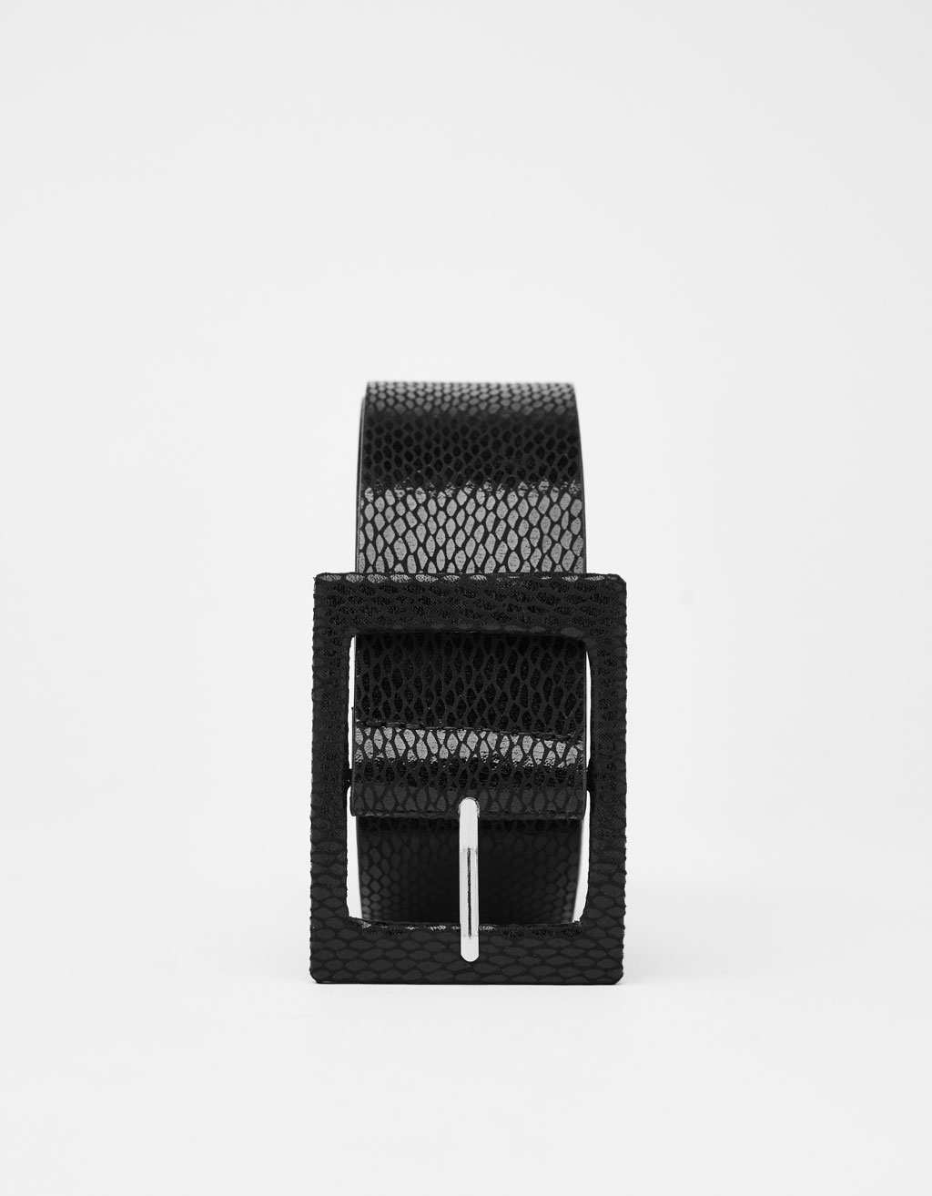 Snakeskin print faux leather belt