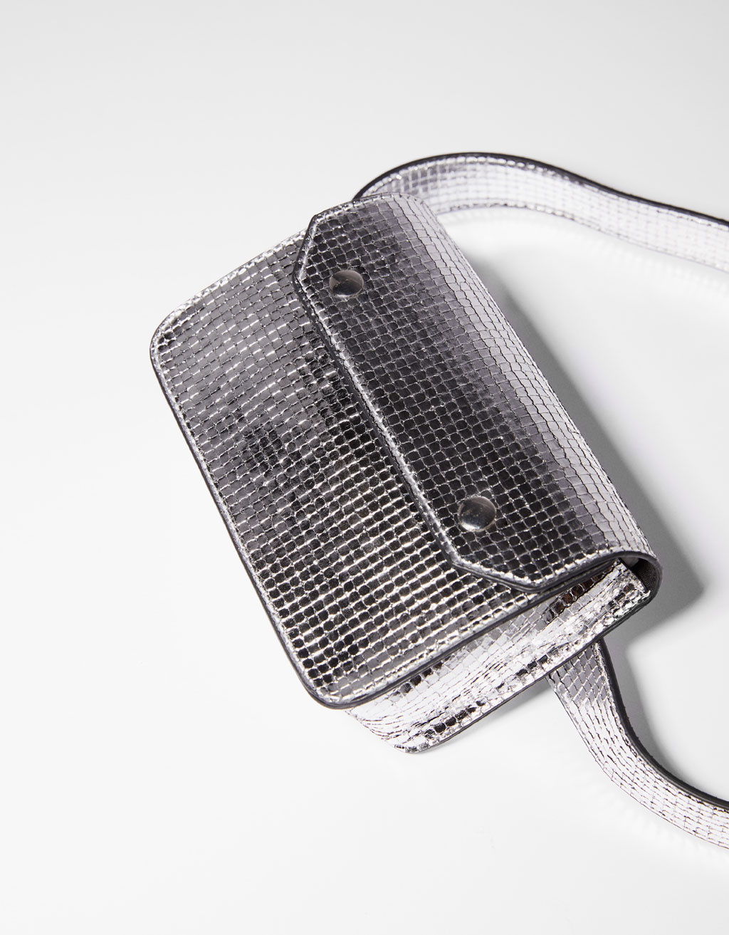 Metallic-effect belt bag