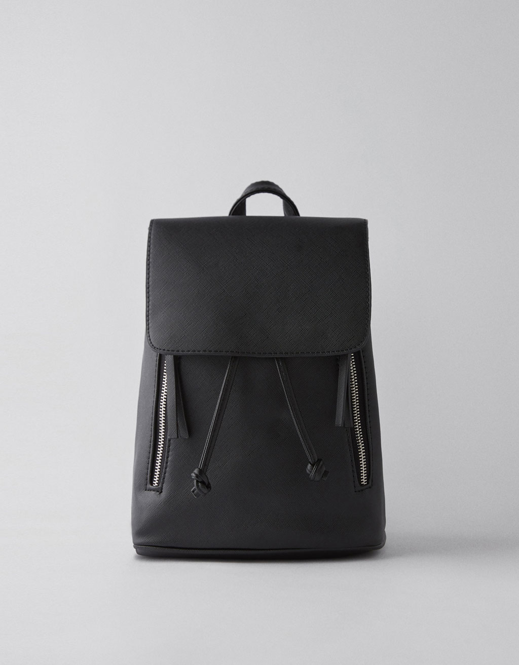 Faux leather backpack with two zippers