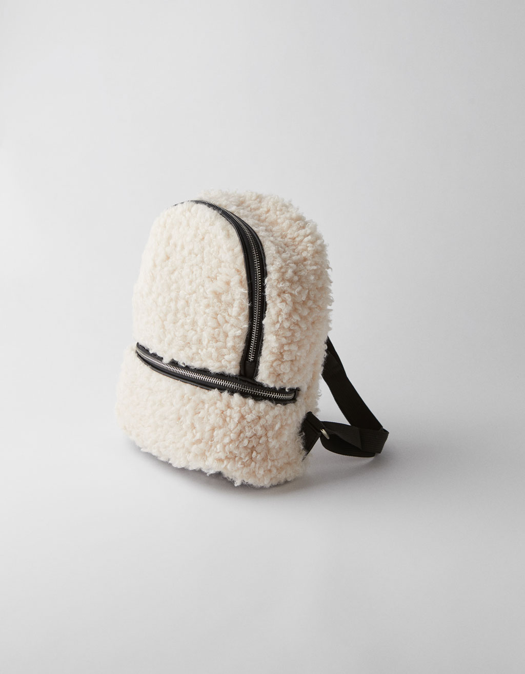 Faux shearling backpack