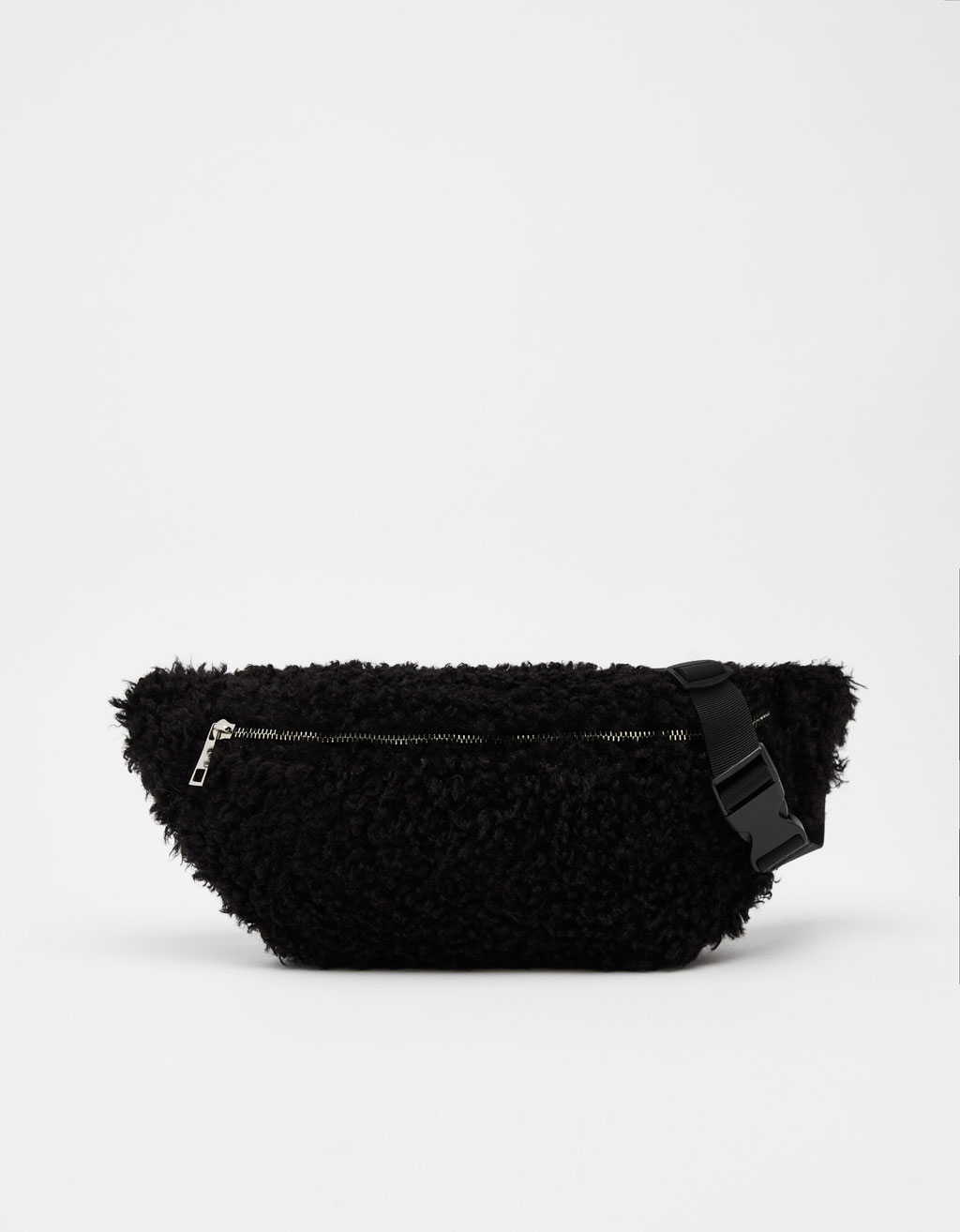 Faux shearling belt bag