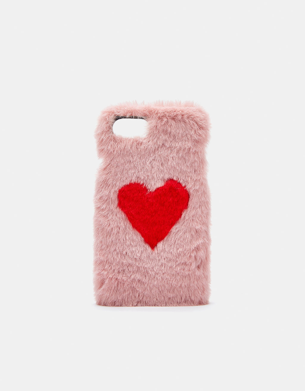 Fluffy iPhone 6/6s/7/8 case with heart detail