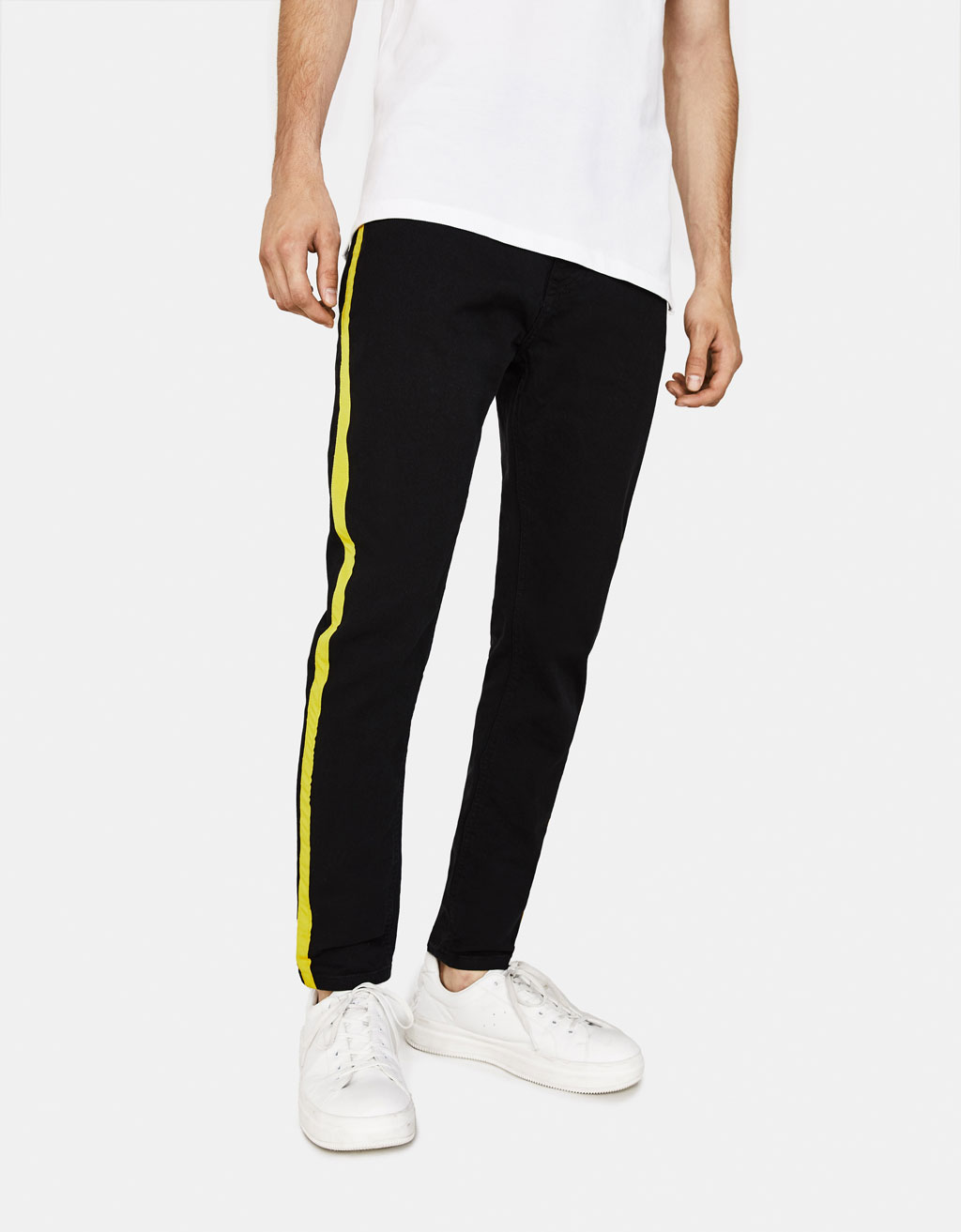 Skinny pants with side taping