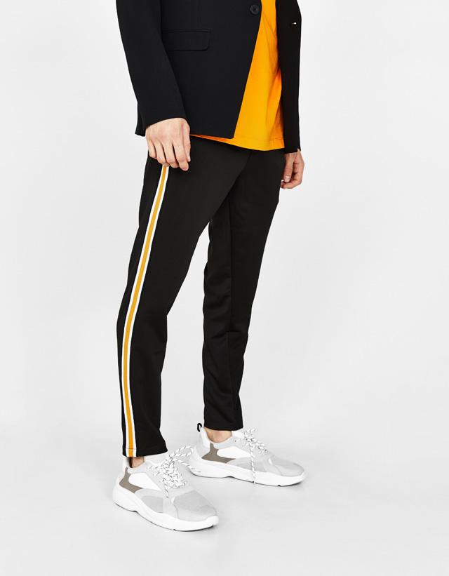 Pantalon à carreaux avec bande latérale - Gris - GrisBershka C1hOF4
