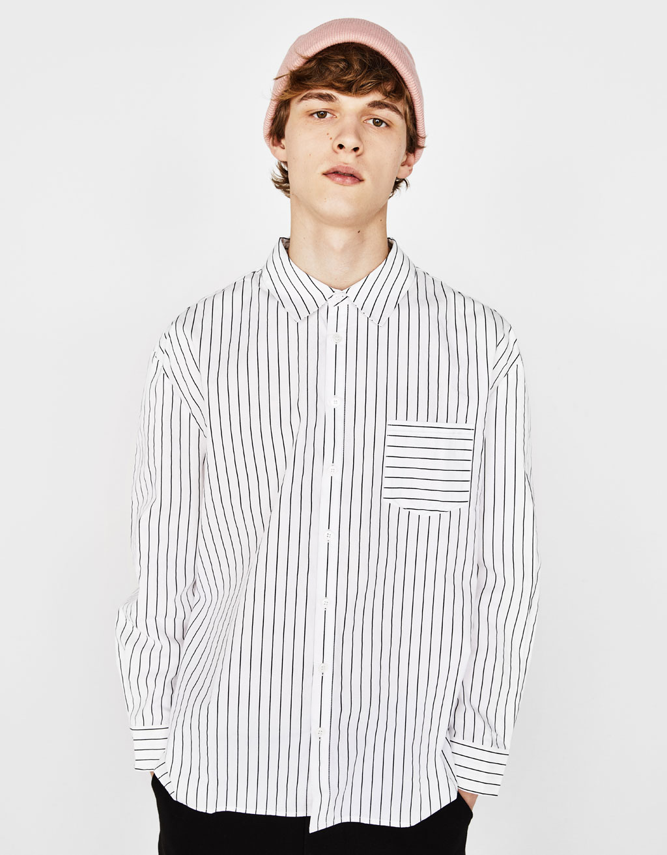 ストライプ柄ポプリンシャツ