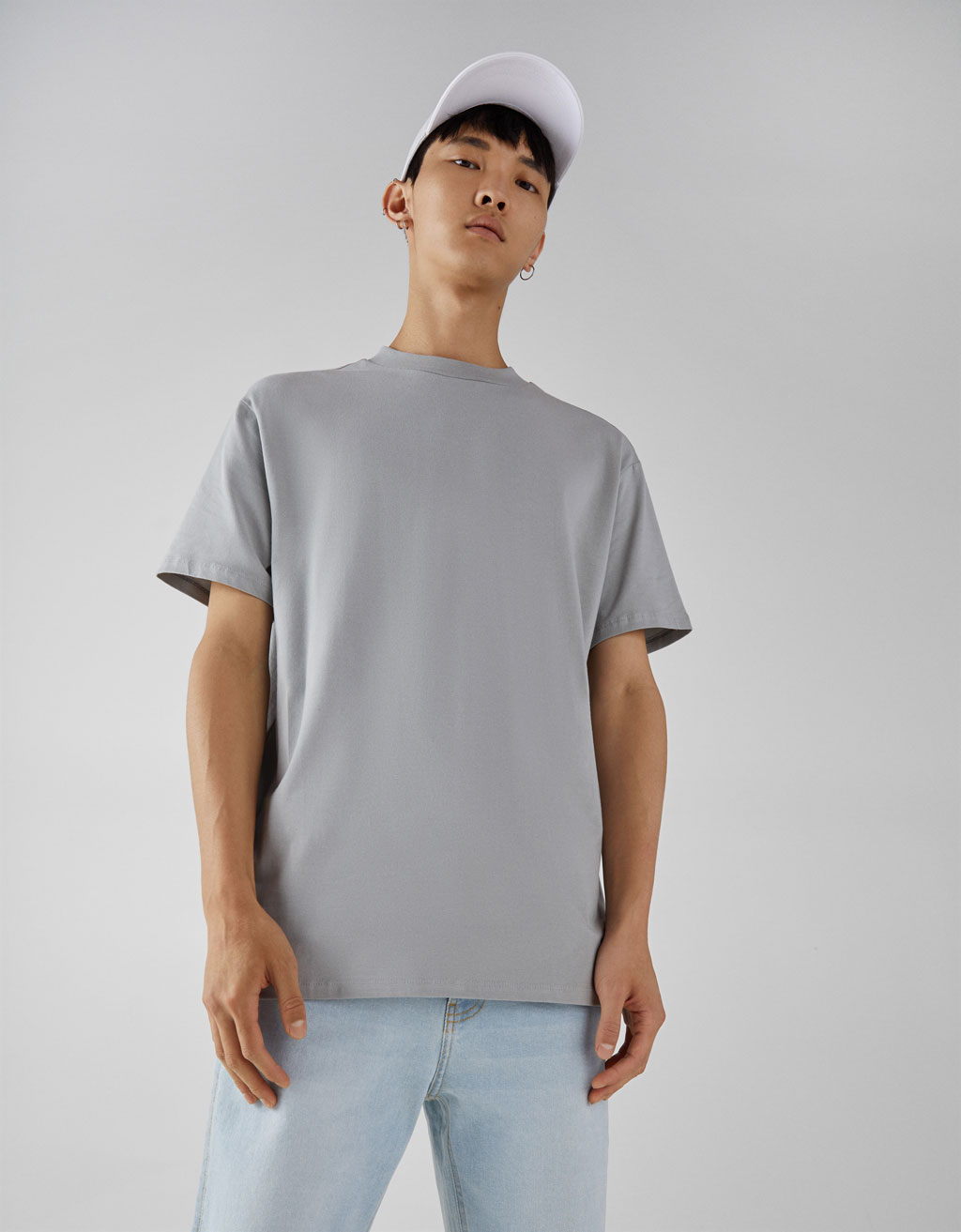 Baumwollshirt High Neck