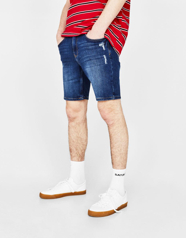 Skinny-Comfort-Fit Bermudashorts aus Denim