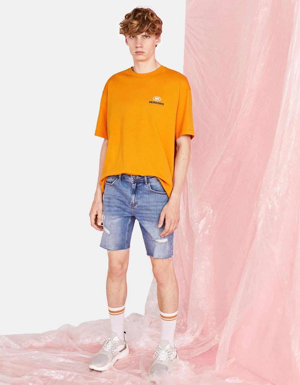 Comfort skinny denim Bermuda shorts