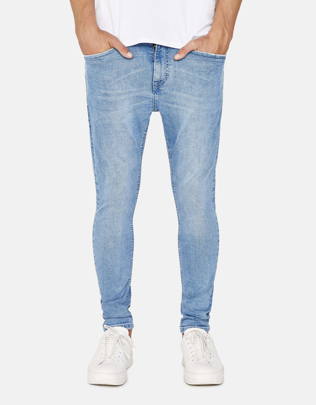 Faded-effect skinny jeans