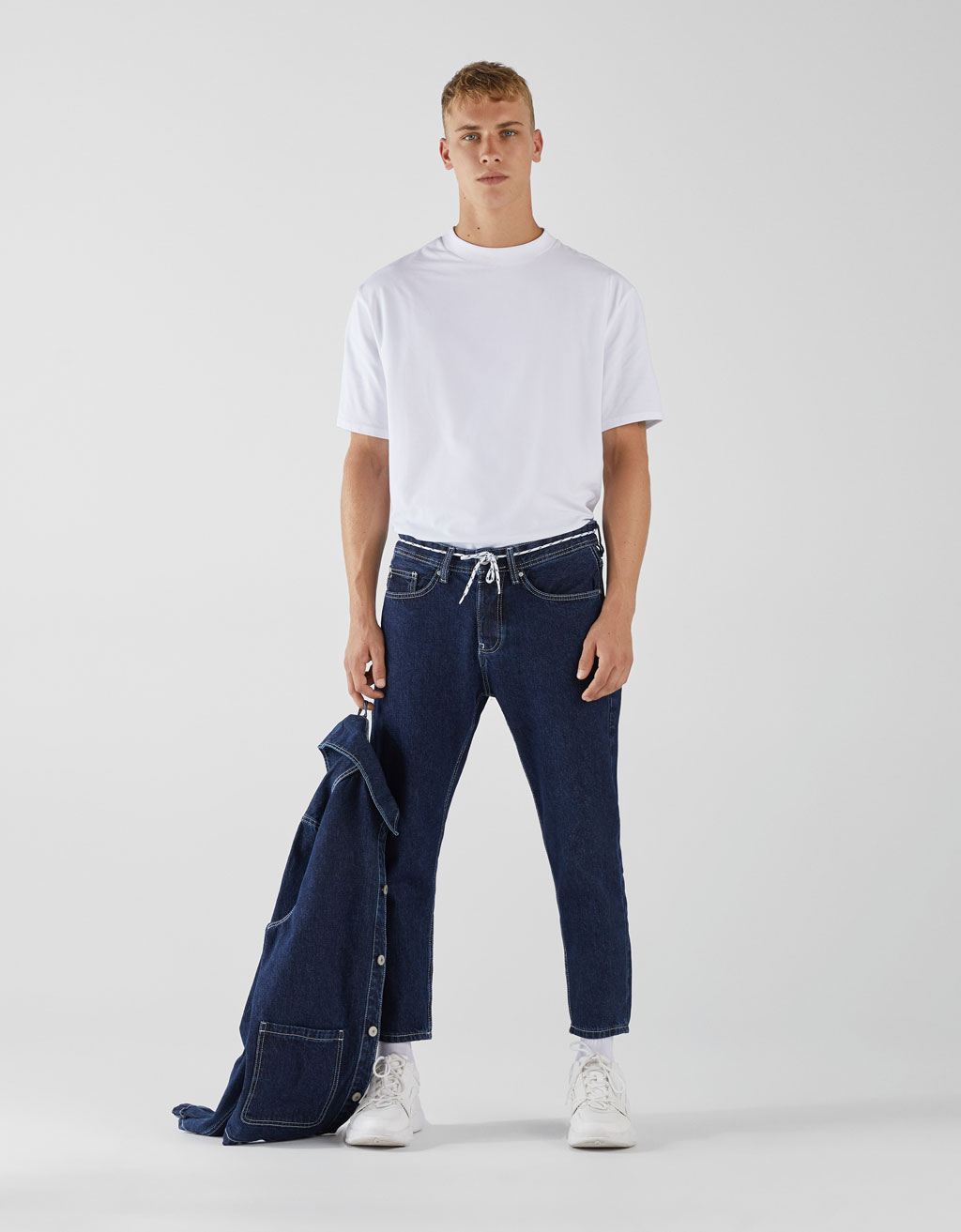 Cropped slim fit jeans with cord