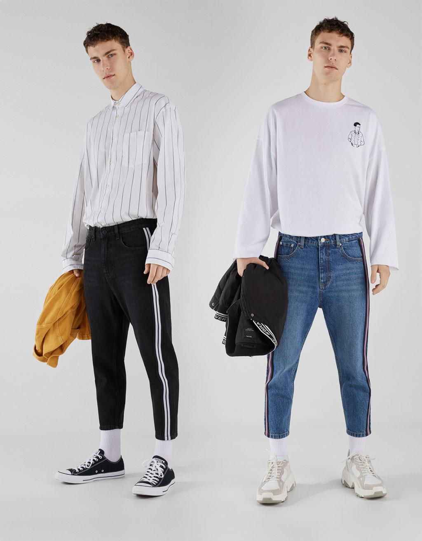 Jeans con banda lateral