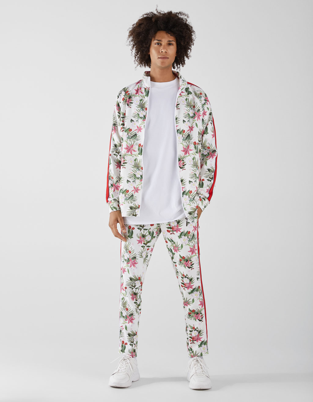 Pantaloni all over cu imprimeu floral