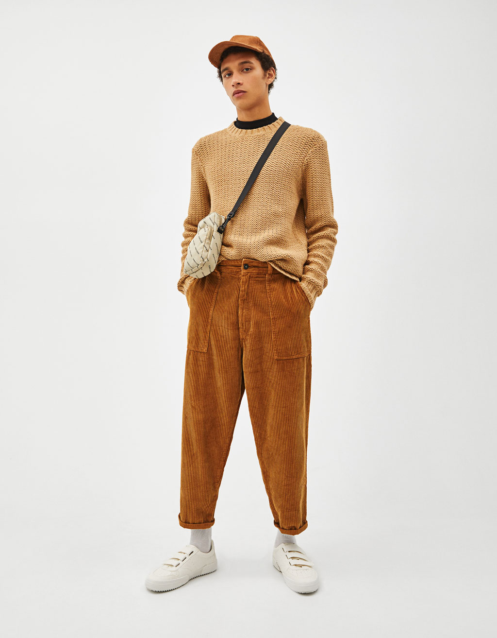 Slim fit corduroy carrot trousers