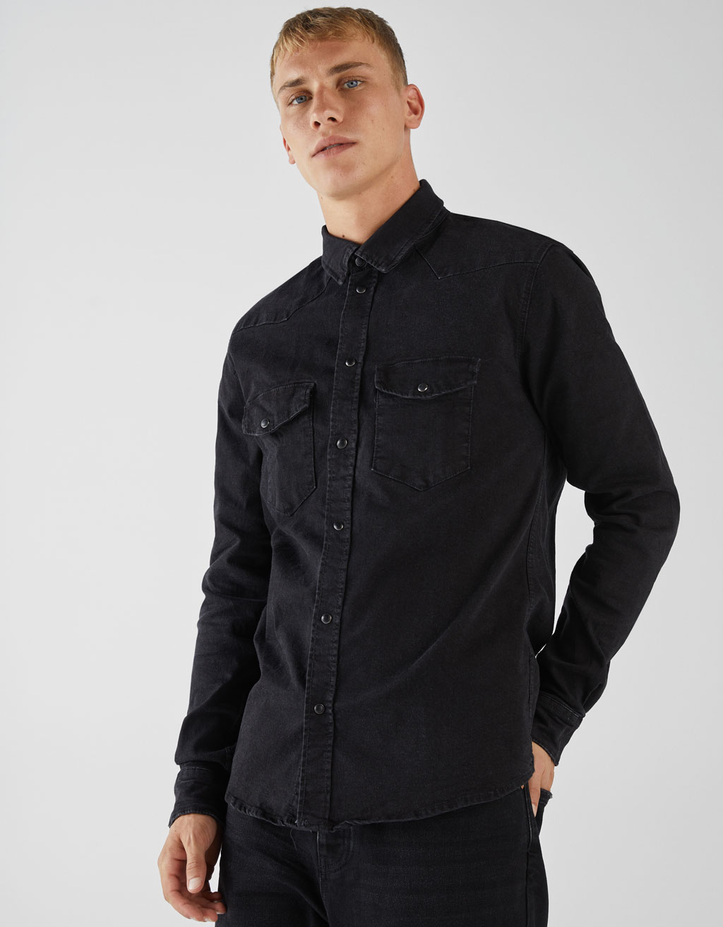 Muscle fit denim shirt