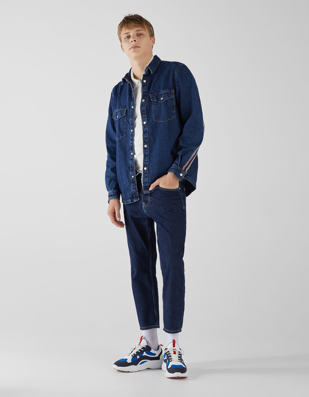 Denim overshirt with side taping