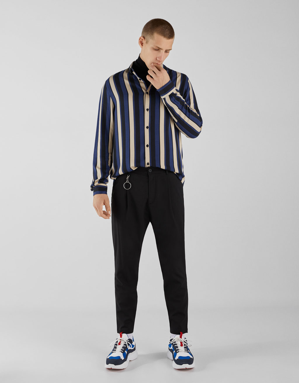 Striped satin-effect shirt