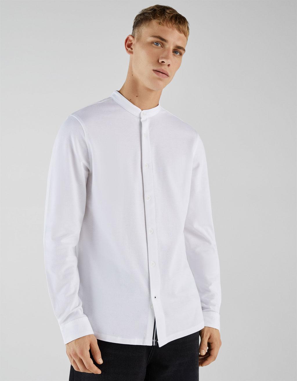 Camisa de piqué con cuello mao