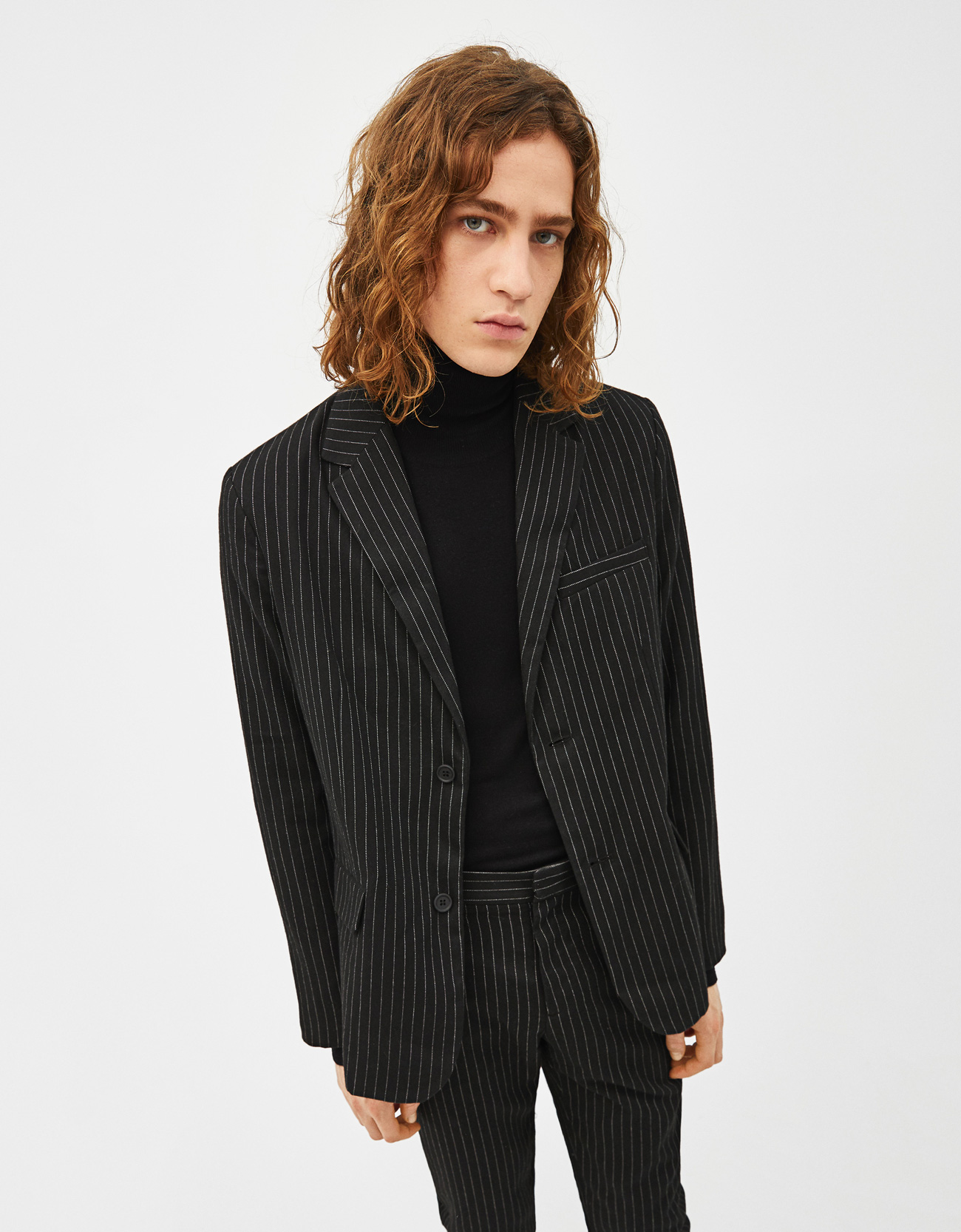 2fb97df237eb07 Blazer with pinstripe print - Jackets - Bershka United Arab Emirates