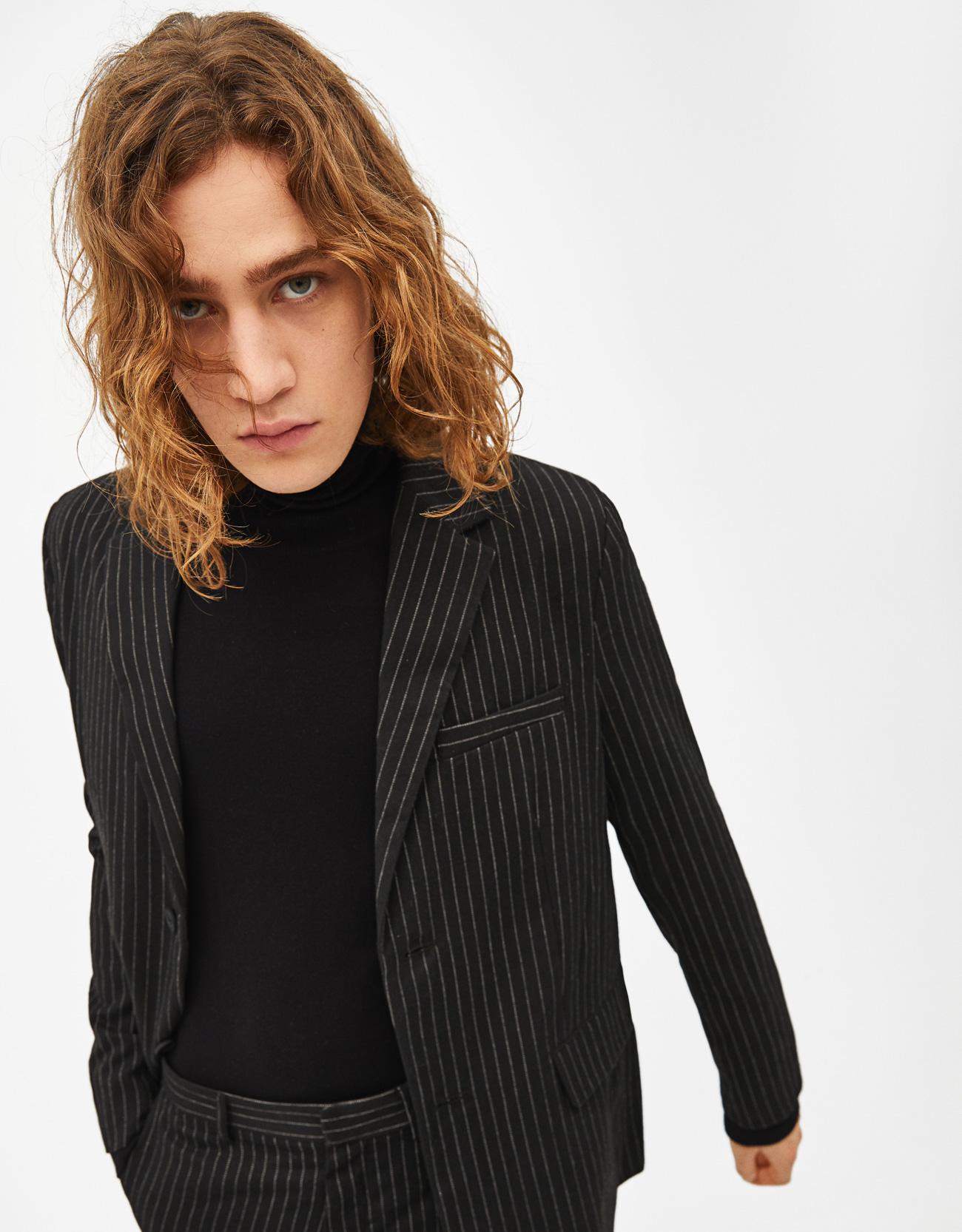 d3a1090f375060 Blazer with pinstripe print - Jackets - Bershka United Arab Emirates