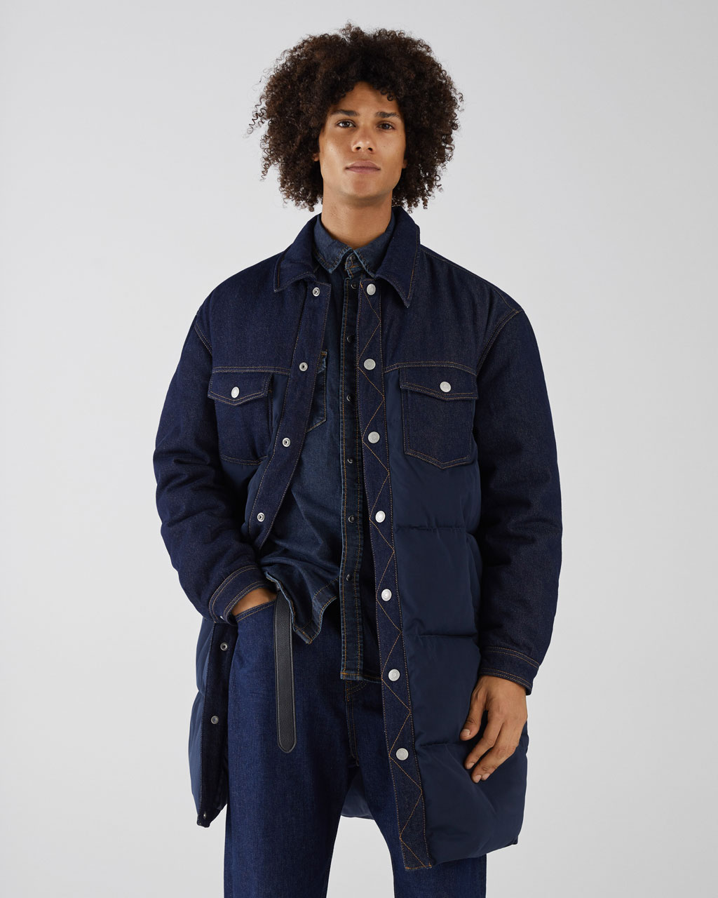 Manteau long denim matelassé
