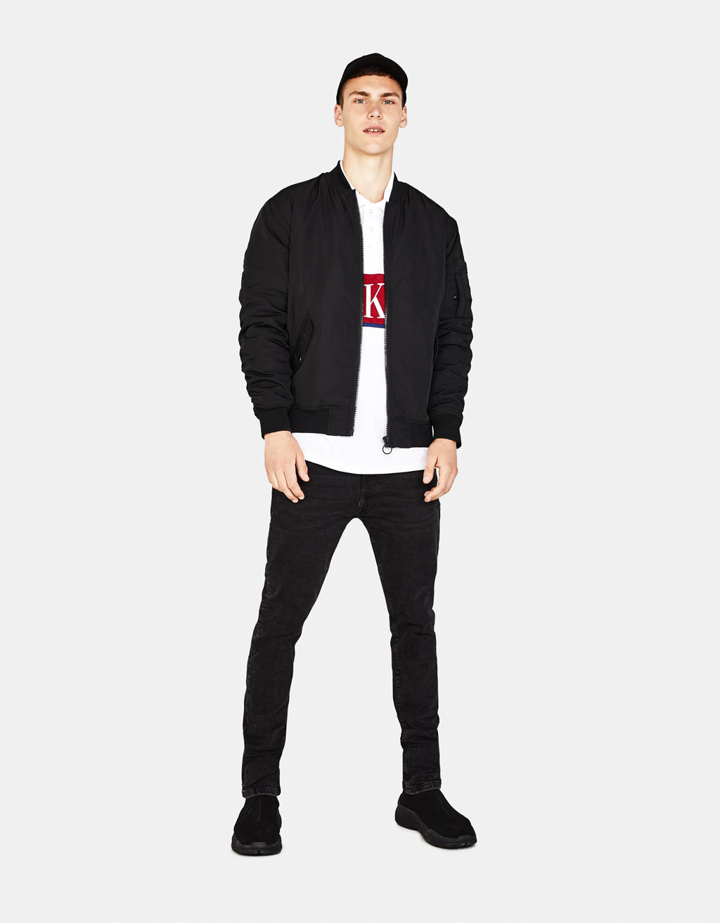 Bomber jacket with gathered sleeves