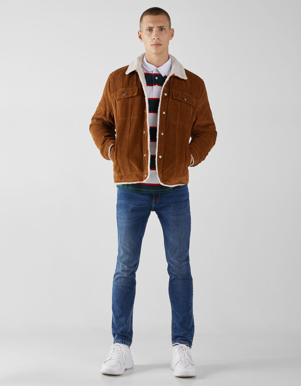 Corduroy and faux shearling trucker jacket