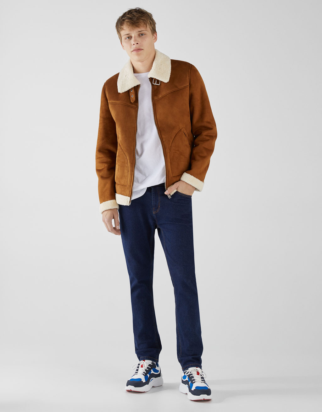 Aviator jacket with faux shearling