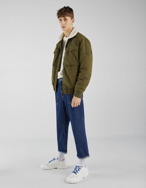 Jacke mit Kragen aus Lammfellimitat