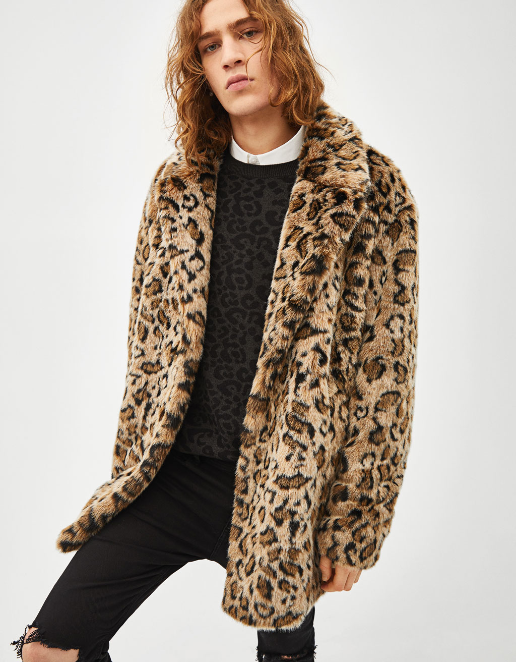 Leopard print fuzzy coat
