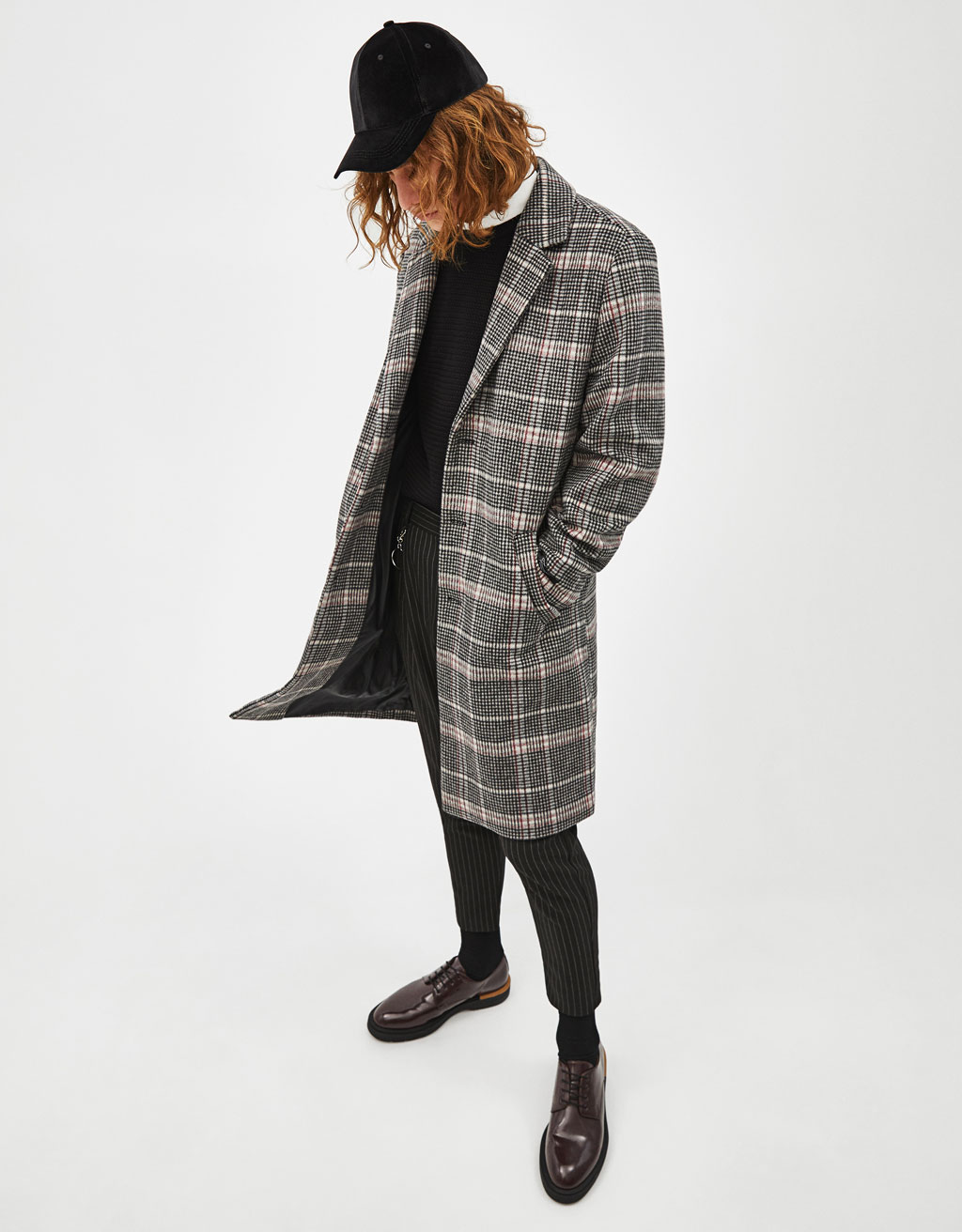 Woolly coat with check print