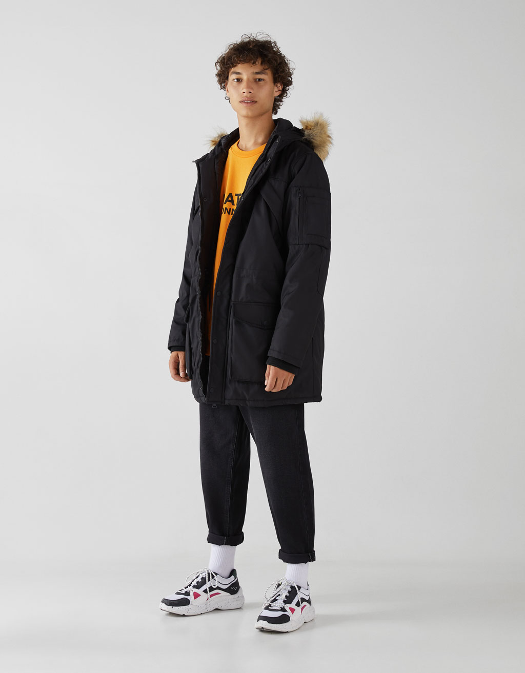 Hooded parka-style coat