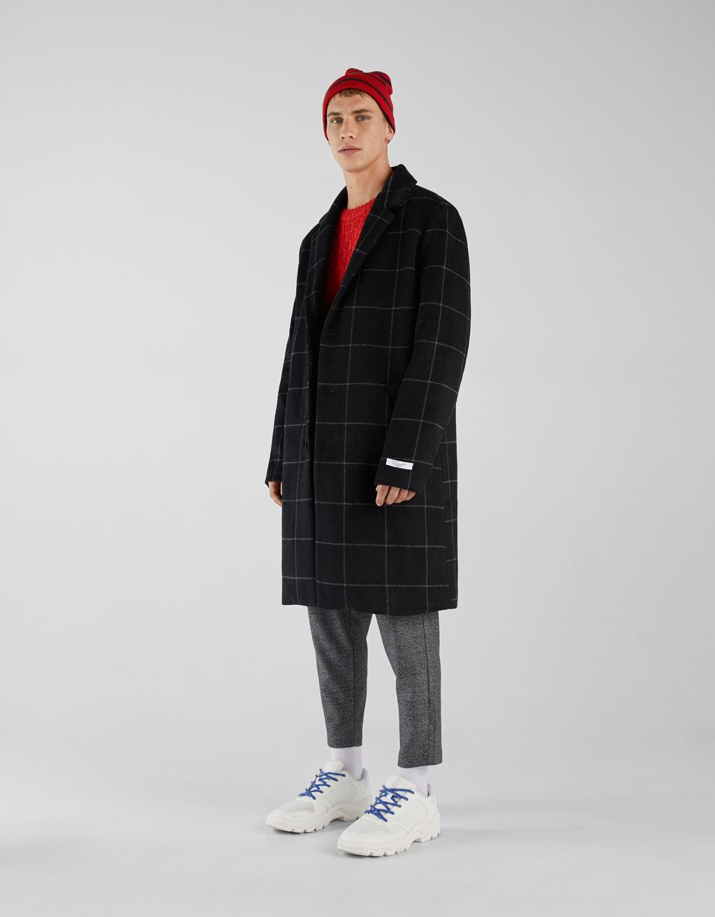 Checked cloth coat