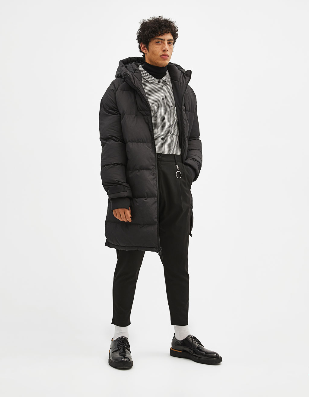 Quilted 3/4 length coat with hood