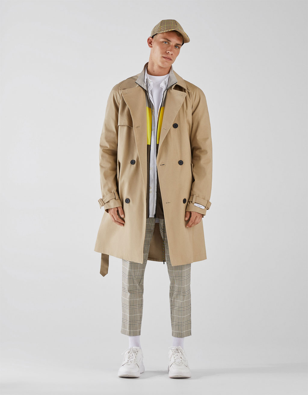 Double breasted trench coat with belt
