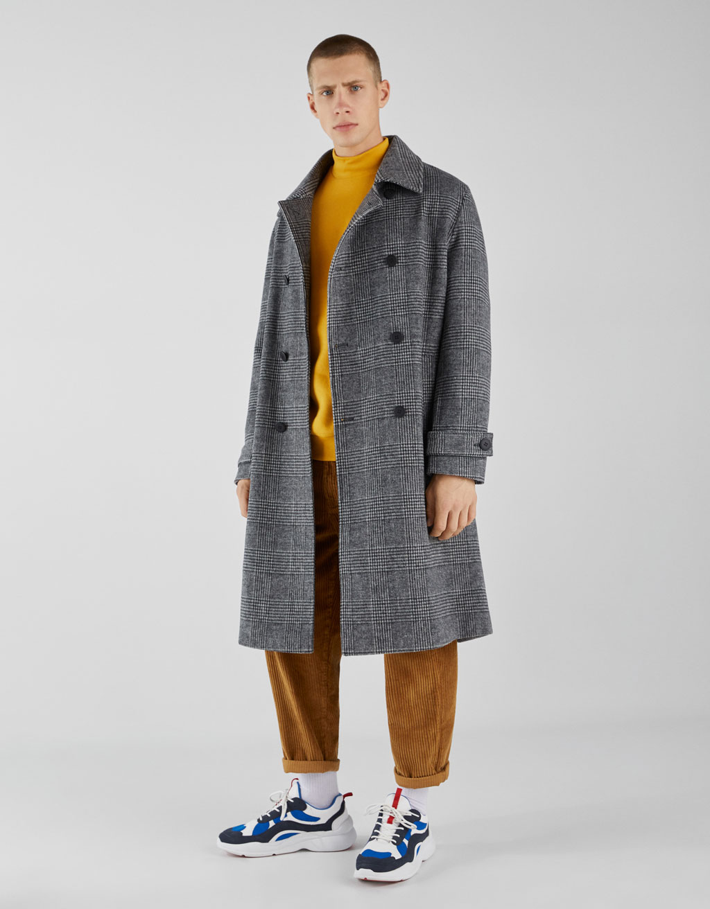 Check oversized woolly coat