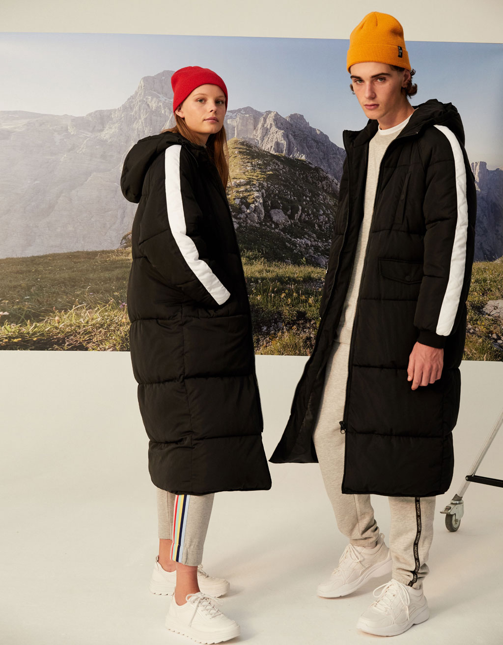 Hooded coat with side stripes