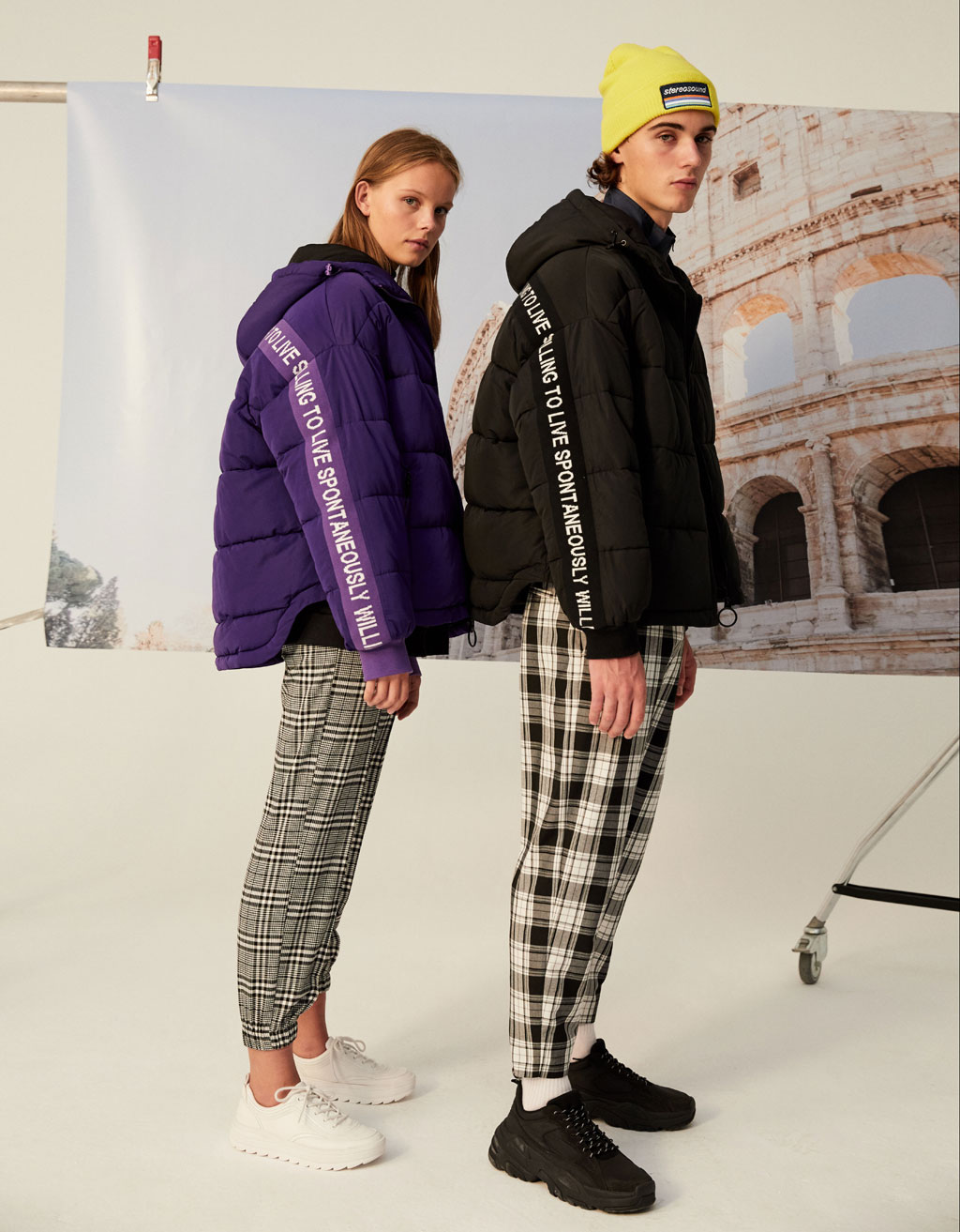 Puffer jacket with slogan taping