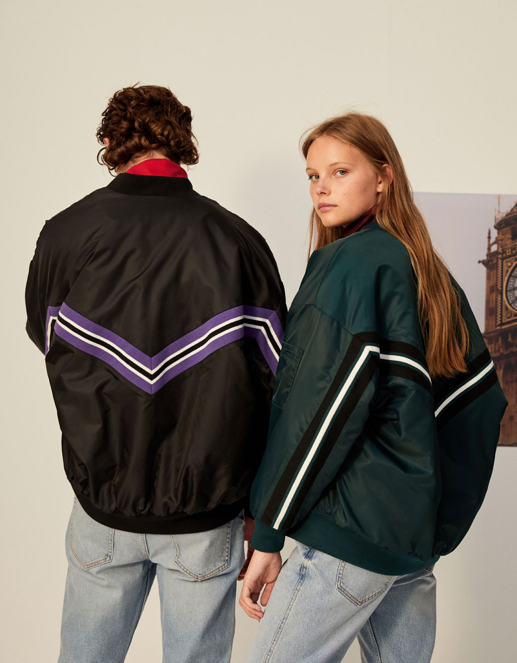Bomber jacket with contrast trims