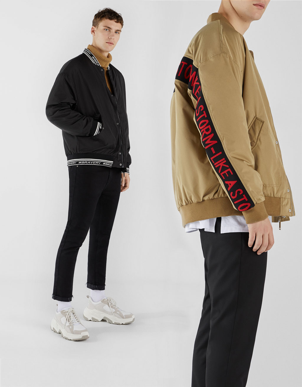 Bomber jacket with contrast band