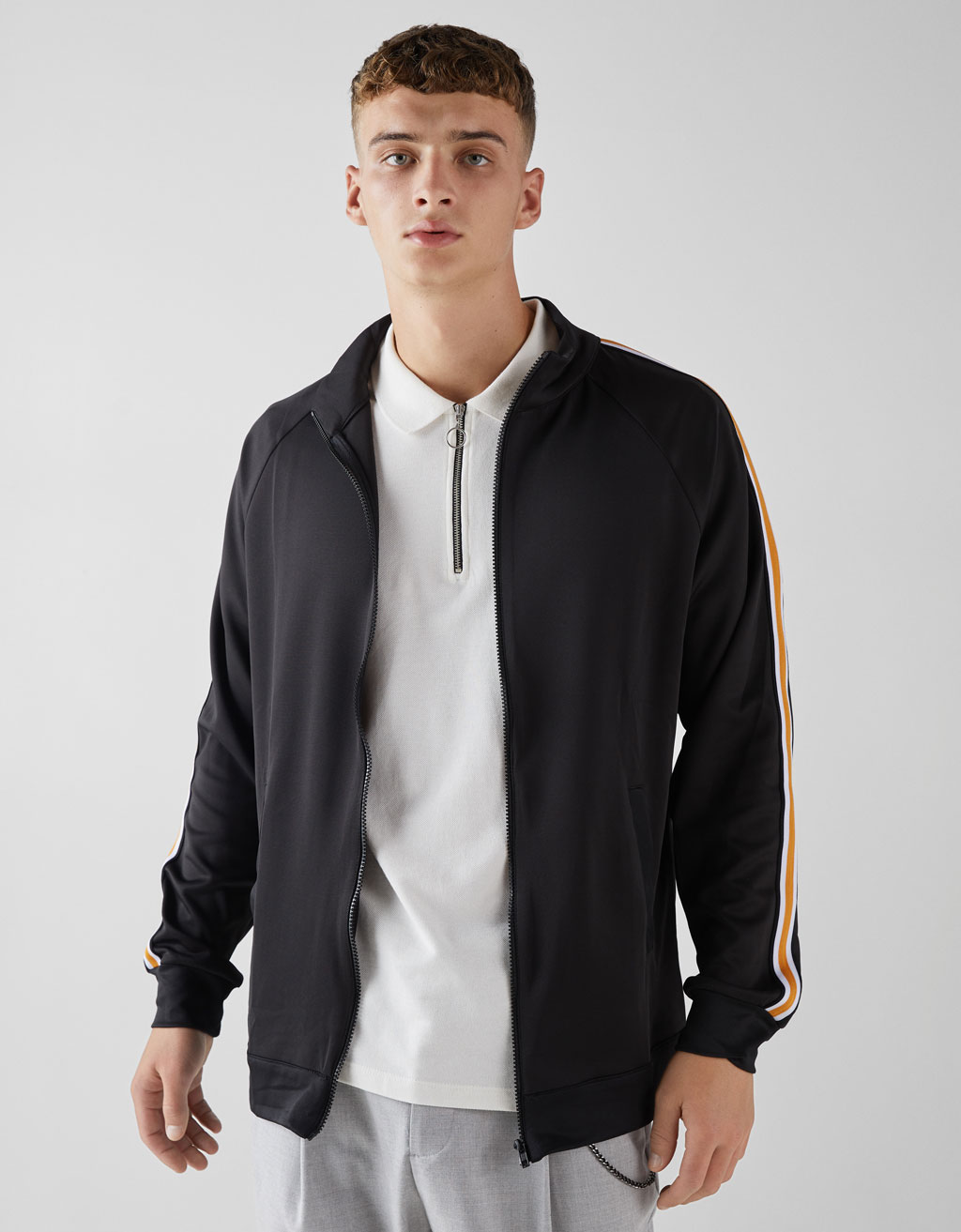 Jacket with side stripe