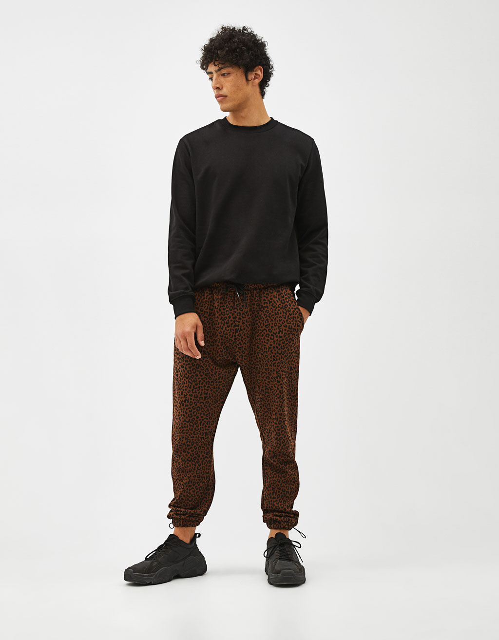Leopard print jogging trousers