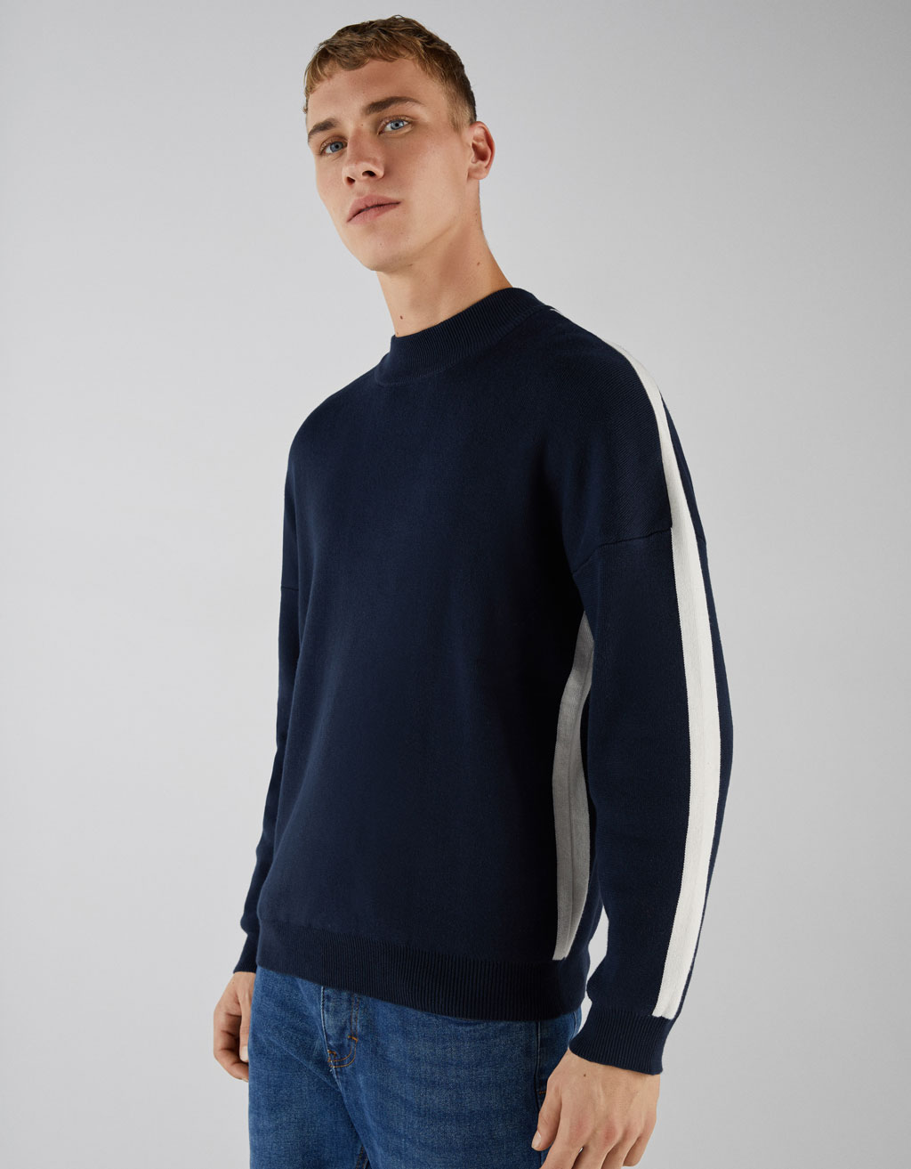 Sweater with side stripes