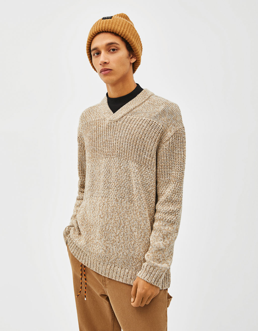 Pulover din tricot combinat