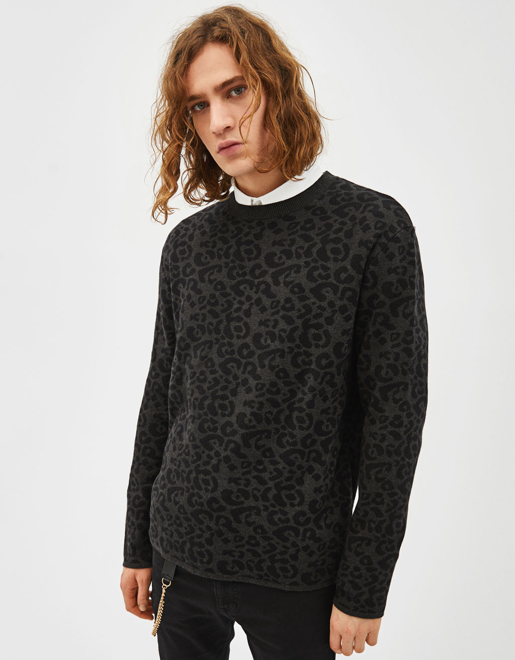 Sweater com estampado leopardo
