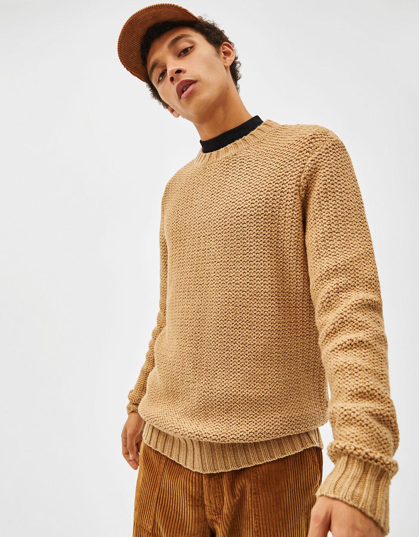 Μακρύ πλεκτό πουλόβερ by Bershka