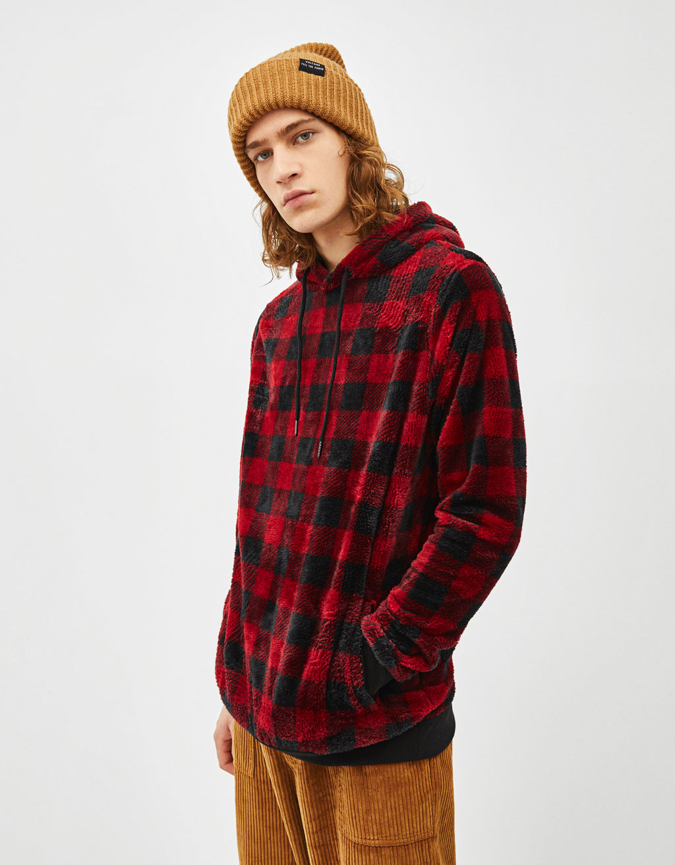 Fuzzy check print sweatshirt
