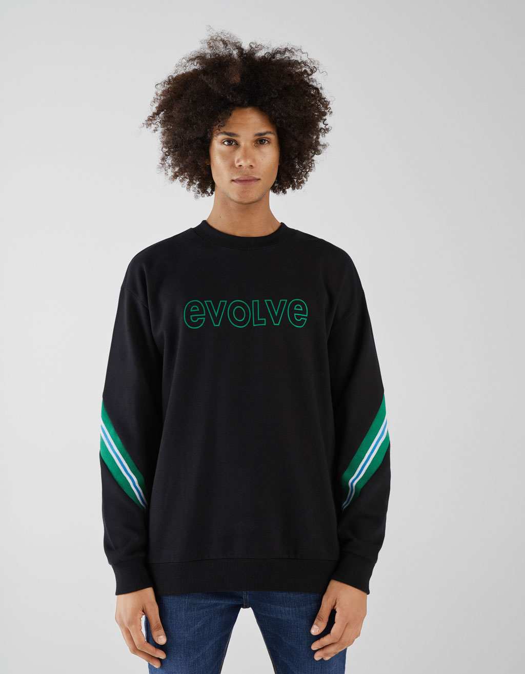 Sweatshirt with slogan and stripe