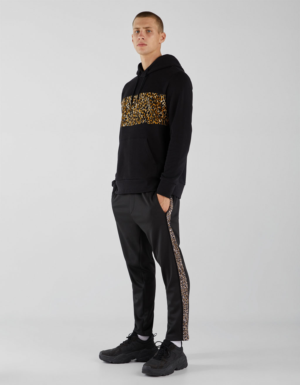 Sweatshirt with leopard print stripe
